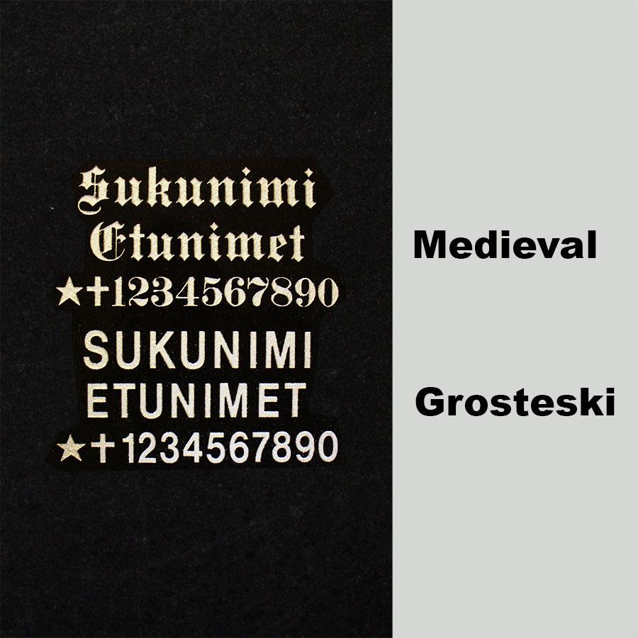 hautakivien kaiverrus kirjain vaihtoehdot