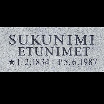 hautakiven muistolaatta harmaa